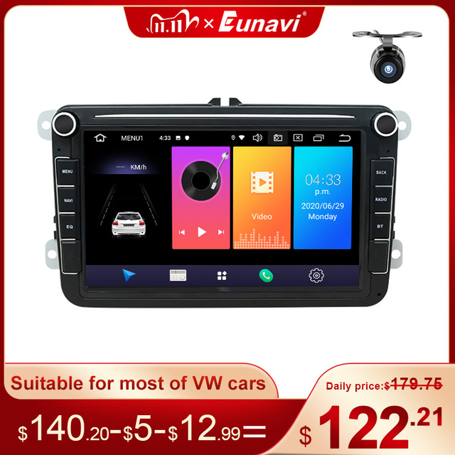 Eunavi 8 2 Din Android car dvd radio for VW Volkswagen Polo Jetta passat b6 b7 cc fabia Touran golf 6 Tiguan rns510 GPS DSP BT