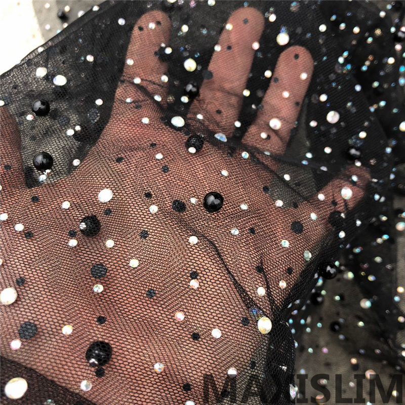 New Diy 1 Yard Rhinestone And Beaded Mesh Fabric For Important Occasions Clothing Making Products Shooting Background Width130CM