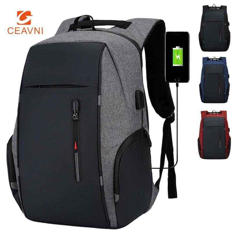 CEAVNI sac à dos hommes USB charge étanche 15.6 pouces ordinateur portable décontracté Oxford mâle sac d'affaires ordinateur portable sacs à dos