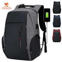 CEAVNI-mochila impermeable con carga USB para hombre, bolsa de negocios informal Oxford para ordenador portátil de 15,6 pulgadas