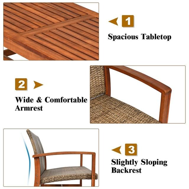 4PCS Acacia Wood Outdoor Patio  Set  5