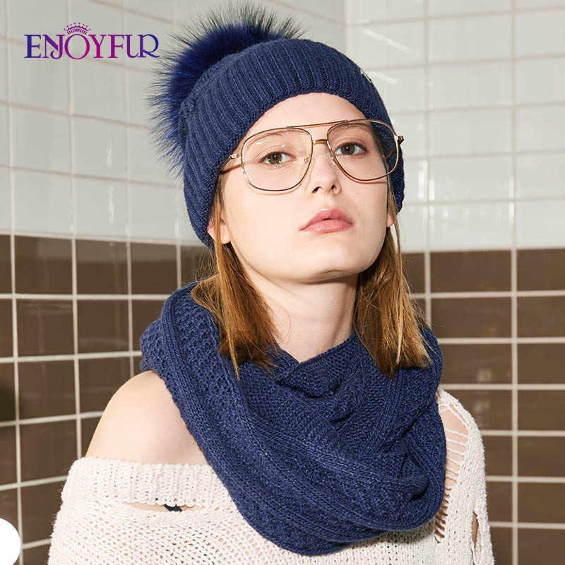 ENJOYFUR, модная зимняя шапка и шарф, комплект, Женская кашемировая шапка, шарф, женский толстый теплый мех, помпон, вязаные шапки, женская шапка