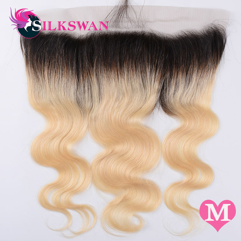 Silkswan Body Wave Ombre Color 1b/613 13*4 Lace Frontal With Baby Hair 100% Human Brazilian Medium Ratio Remy Hair Free Shipping