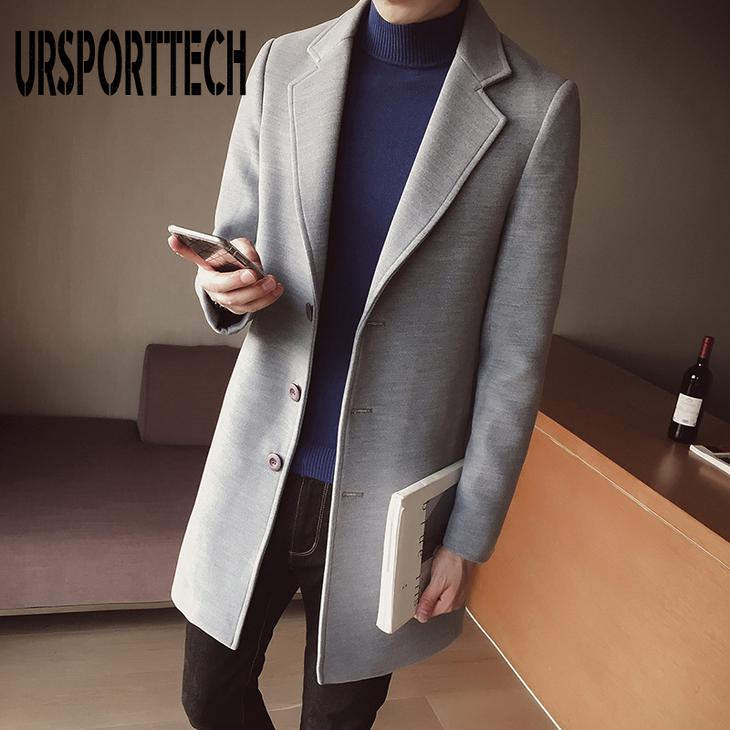 10 Colors 2019 Autumn Winter New Men's Woolen Coat 5XL Large Size Slim Long Trench Coat Male Single Button Woolen Coat Plus Size