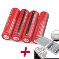 GTF 4 шт. 18650 батарея 3 7 В 4200 мАч литий-ионная аккумуляторная батарея для фонарика игрушка с 4 слотами 18650 Пластиковый держатель чехол
