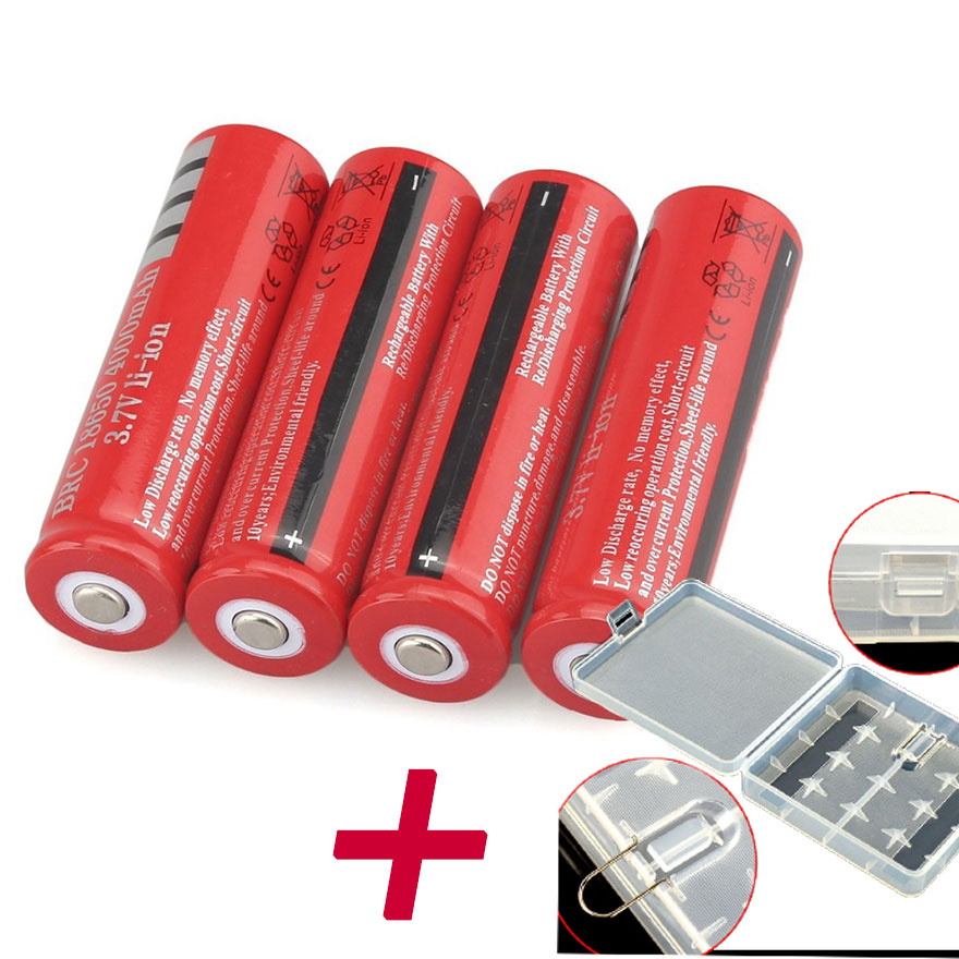 GTF 4pcs <font><b>18650</b></font> Battery 3.7V 4200mAh Li-ion Rechargeable Battery For Flashlight Torch Toy with <font><b>4</b></font> slot <font><b>18650</b></font> Plastic Holder Case image