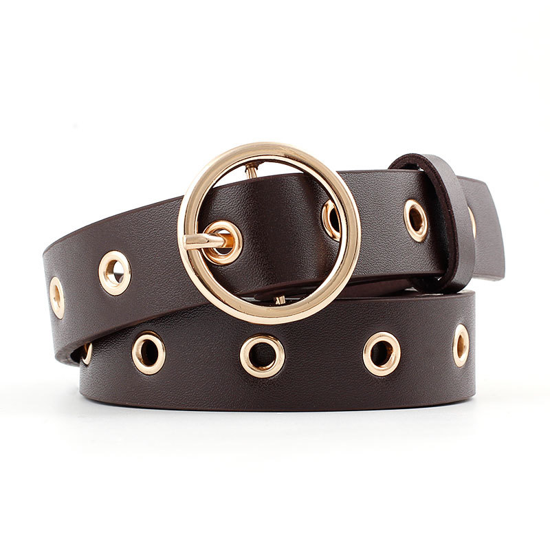 Women's   New High Quality PU Leather Jeans Belt Golden Circle Ring Pin Buckle Eyelet Rivets Belt Fashion Casual Waistband