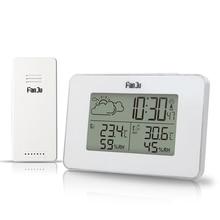FanJu FJ3364W דיגיטלי שעון מעורר אלחוטי מדחום מדדי לחות חיישן LED נודניק שעוני שולחן DCF תחנת מזג אוויר כלים