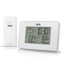 Цифровые часы с будильником FanJu FJ3364W, беспроводной термометр, гигрометр, датчик, светодиодные настольные часы с повтором сигнала, инструменты для метеостанции DCF