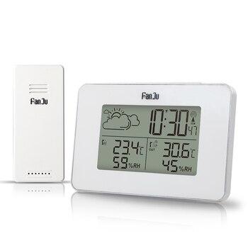 FanJu-reloj Digital FJ3364W, alarma, termómetro inalámbrico, Sensor de higrómetro, LED, Snooze, relojes de mesa, herramientas de estación meteorológica DCF