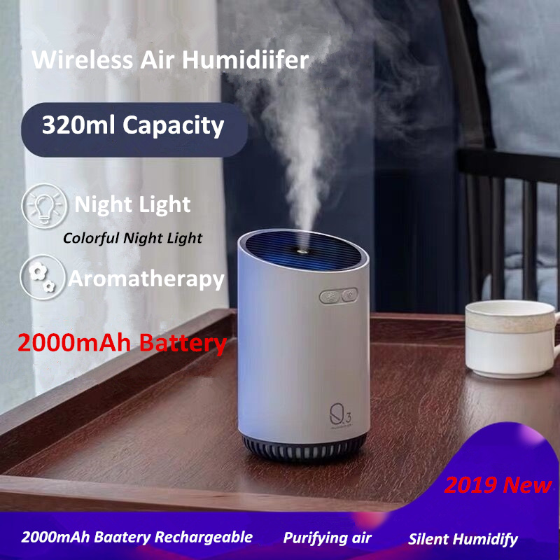 Image 2 - 320ML Wireless Air Humidifier With 2000mAh Battery Cool Mist Ultrasonic Electric Essential Oil Diffusers Aromatherapy Diffuser-in Humidifiers from Home Appliances