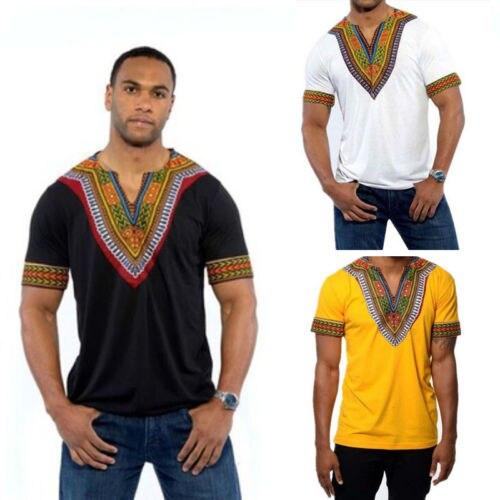 Mens African Dashiki Print Succinct Shirt Hippie Festival Casual Tee Top T-shirt