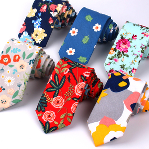 New Floral Tie For Men Women Skinny Cotton Neck Tie For Wedding Casual Mens Neckties Classic Suits Flower Print Neck Ties Cravat(China)