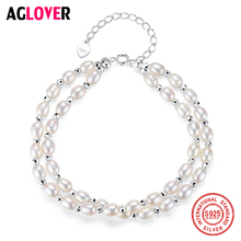 AGLOVER New Genuine Natural Freshwater Pearl Bracelets For Women Double Layer Pearl 925 Silver Spring-Clasps Fine Jewelry Gift