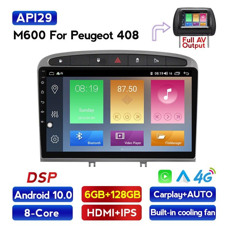 Android10 ips dsp carplay reprodutor de multimídia do carro para peugeot 408 308 2010-2016 áudio do carro gps wifi bt 4g lte rádio app rds