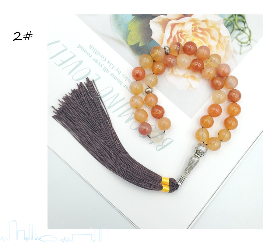 ECHSUN  moda 2020 muslim fashion Agate stone 10MM33 Muslim supplies gift Islamic prayer beads Mosque prayer beads TASBIH