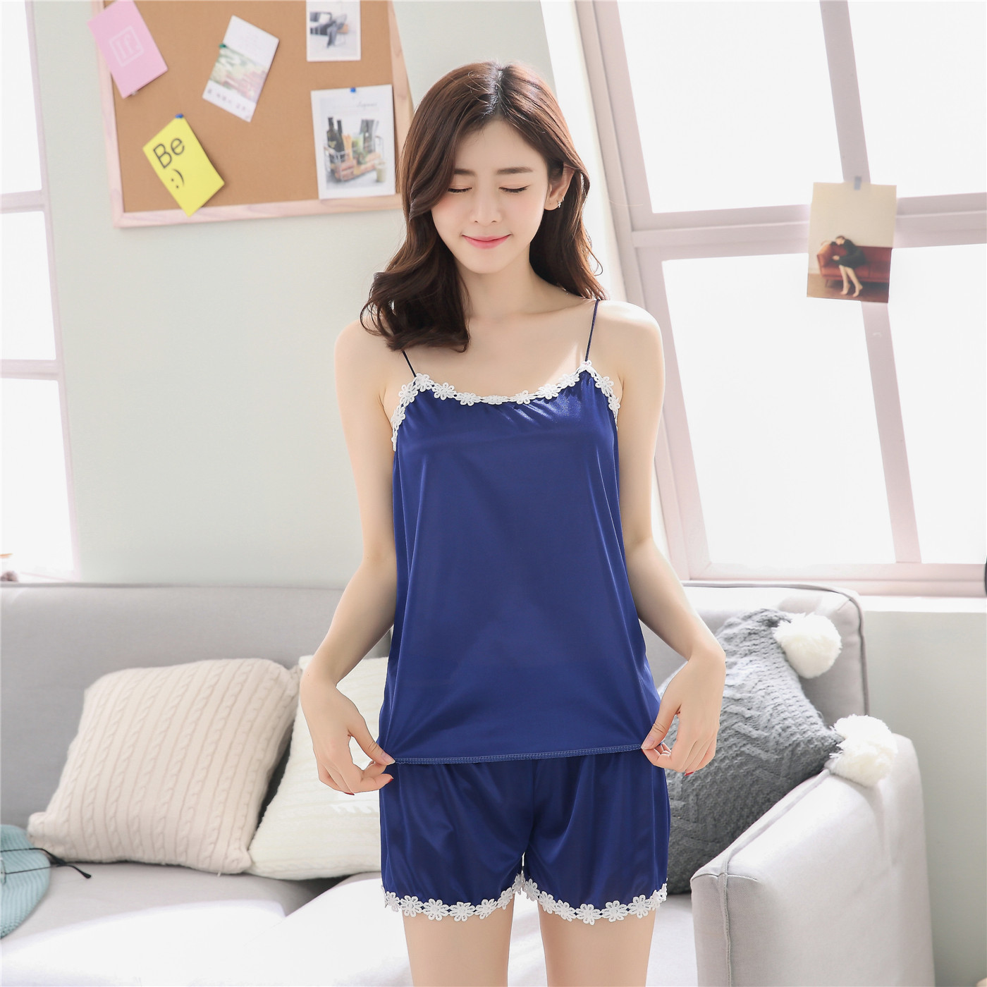 Pajamas Female Summer Extra-large Imitated Silk Fabric Strapped Vest Ice Silk Korean-style Piece Sexy Shorts Set Home Wear
