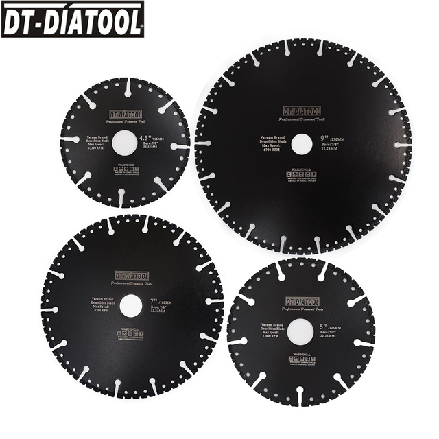 "DT DIATOOL  1pc Vacuum Brazed Diamond Cutting Disc Multi Purpose for Rebar Aluminum hard Granite Rescue Saw blade 4.5"" 9"""