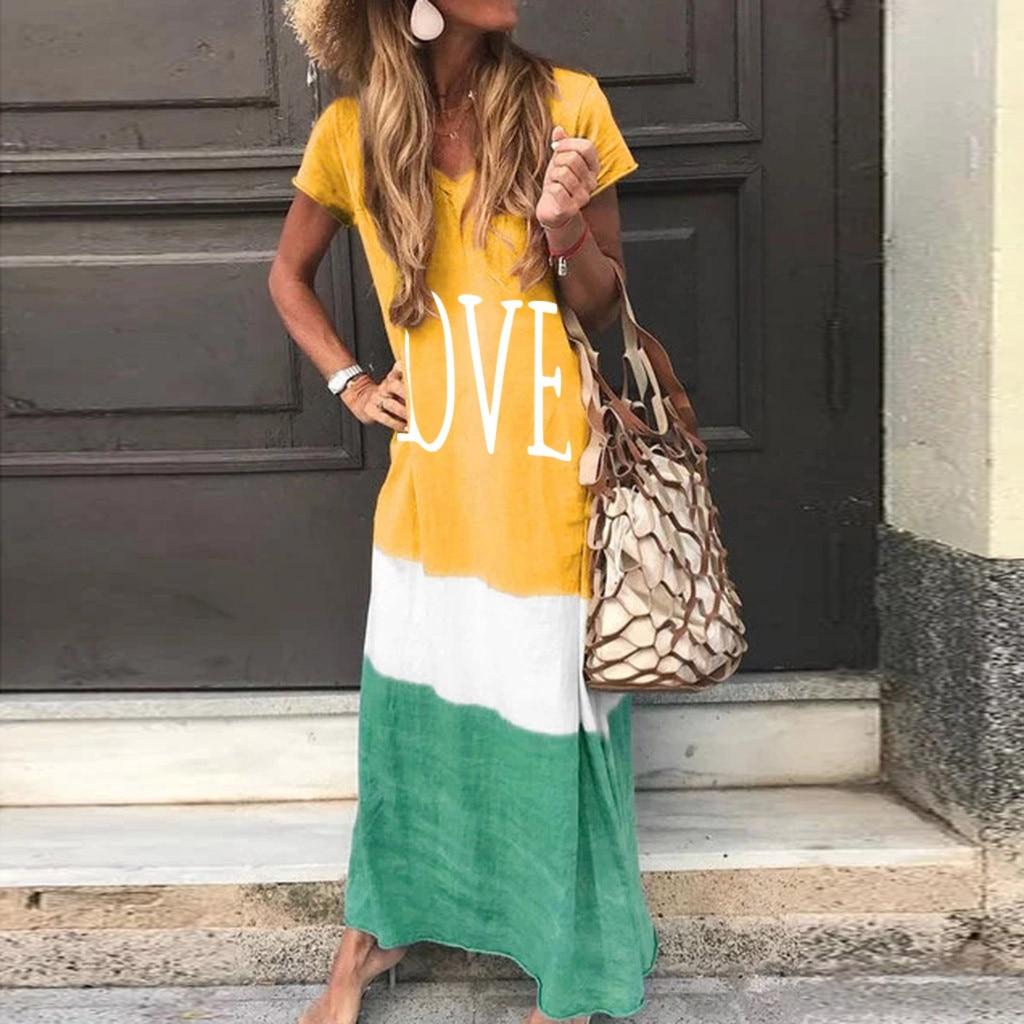 2020 Maxi Long Dress Summer Dress Women Letter Print Patchwork Sundress Casual Loose Plus Size Sexy V Neck Vestidos 8