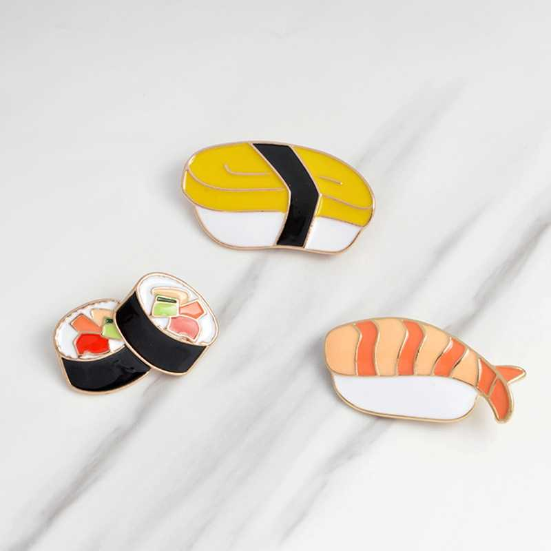 Cute Cartoon emalia szpilki japońskie sushi broszka metalowe przycisk Pin Denim płaszcz plecak T-shirt spinka na klapę marynarki lub kołnierz odznaka biżuteria prezenty