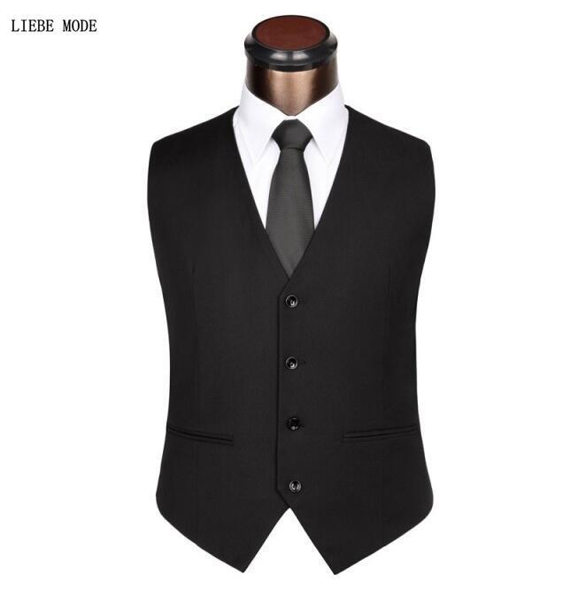 Mens Black Gray Wedding Suit Vests For Men Slim Fit Dress Vest Male Formal Tuxedo Waistcoat Business Casual Sleeveless Jacket