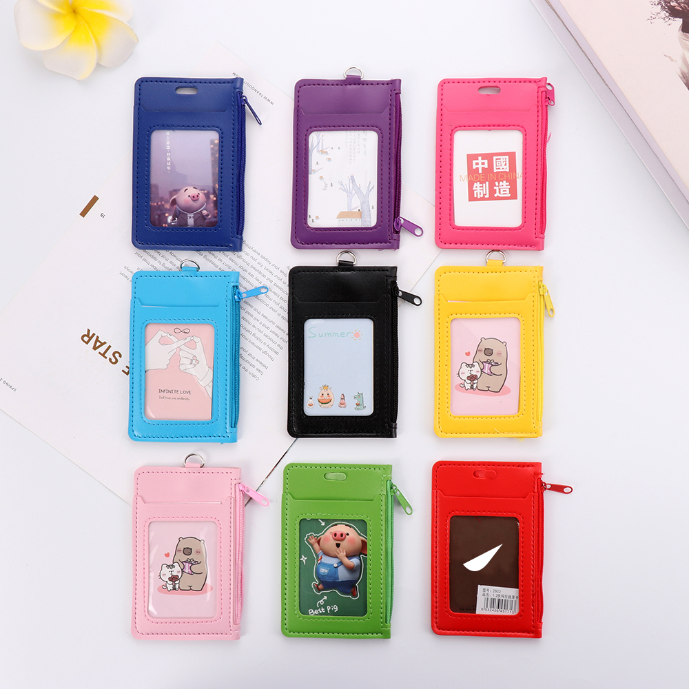 1Pcs Fashion ID Badge Card Holder Men Women Faux Leather Business Card Case Cover with Neck Lanyard Coin Purse Zipper Bag Gifts