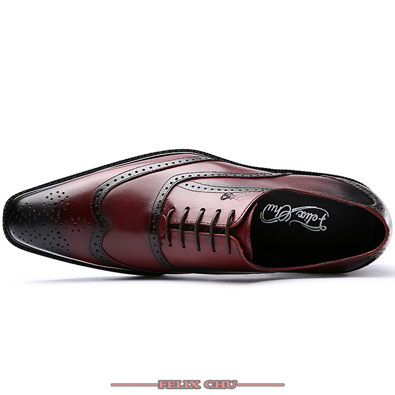 Luxury Men Genuine Leather Shoes High Quality Italian Design Black Burgundy Hand-polished Pointed Toe Lace up Oxfords Shoes Men