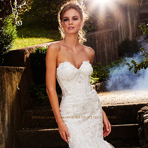 Image 3 - New Arrivals Beading Crystal Lace Appliques Mermaid Wedding Gowns Vestido Novia Sirena Sweetheart Neck Backless Elegant Dresses
