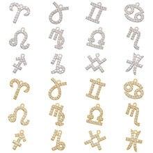 ZHUKOU – Mini 12 constellations en laiton CZ cristal, pendentif pour femmes, collier boucles d'oreilles, accessoires bijoux VD590