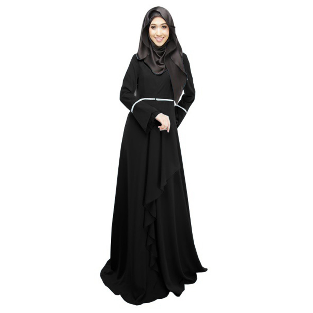 Casual Muslim Abaya Petal Maxi Dress Cardigan Loose Long Robe Gowns Ramadan Turkey Islamic Prayer Clothing Worship Service 11.4
