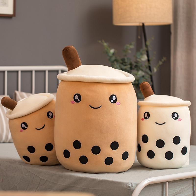 25-70cm Cute Cartoon Real-Life Bubble Tea Cup Shaped Pillow Super Soft Back Cushion Kids Toys Birthday Gift Stuffed Funny Boba
