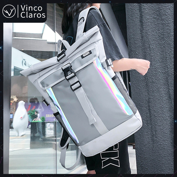 Brand Mens Backpack Large Capacity Waterproof Travel Backpacks Man Fashion Reflective School Bag for Teenagers Unisex