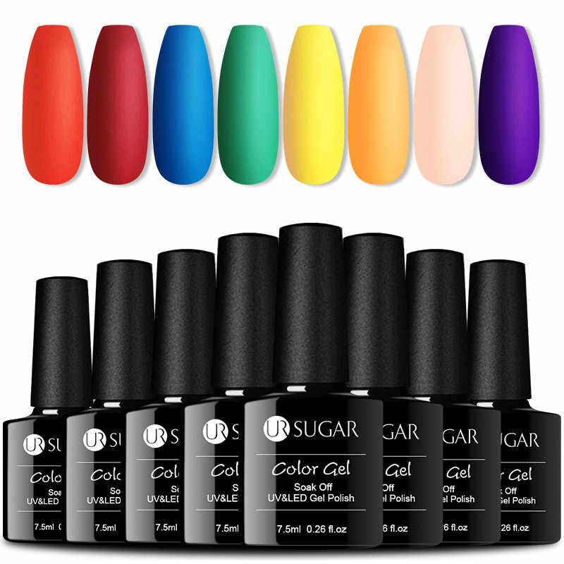UR Gula 8 Pcs/set Matte Color UV Nail Polish Semi Permanen Gel Kuku Set Glitter LED Nail Gel Varnish Kit dengan Base Top Coat