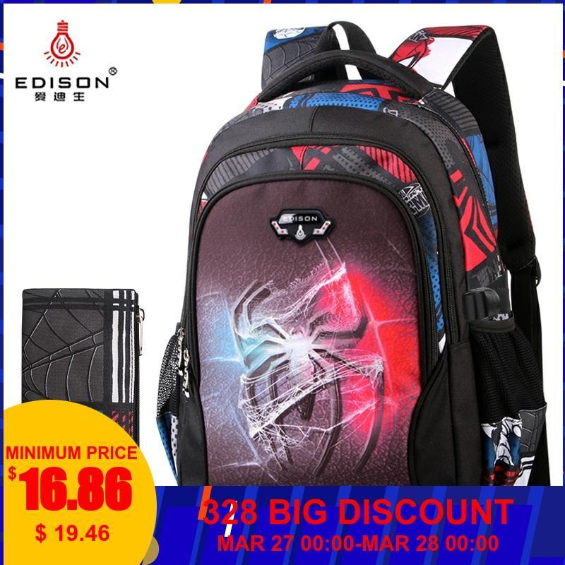 Edison Teenagers School Bags Fashion Ultra Light Burden Reduction Children School Backpack Cartoon Backpack Bags For Boys Girls