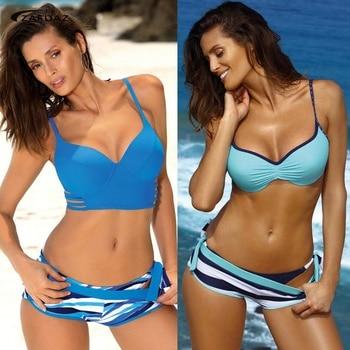 2020 Sexy Push Up Bikini Set 3 Piece Swimsuit Plus Size Tankini Swimwear Women Vintage Stripe Sports Bathing Suit Shorts Femme tropical pineapple plus size surplice tankini set