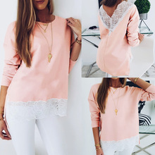 2019 Sexy Solid Color Pink Deep V Back Lace Patckwork Long Sleeve Women Blouse Tops and Shirt