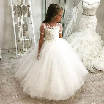 Pageant Kids Lolita Short Sleeve Flower Girl Dresses For Weddings Party Birthday Prom Beading First Communion Gowns