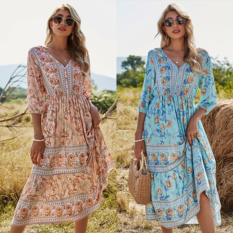Women's dress 2021 summer sexy V-neck floral print Bohemian Beach Dress Lace print short sleeve A-line skirt sun skirt