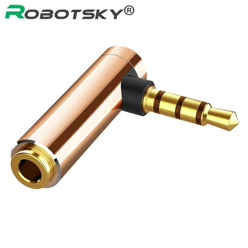 Conector de Audio de 3,5mm, convertidor de auriculares de 90 grados con conector 3,5 de ángulo recto hembra a macho de 4 polos, conector de Audio estéreo en forma de L, 1 unidad