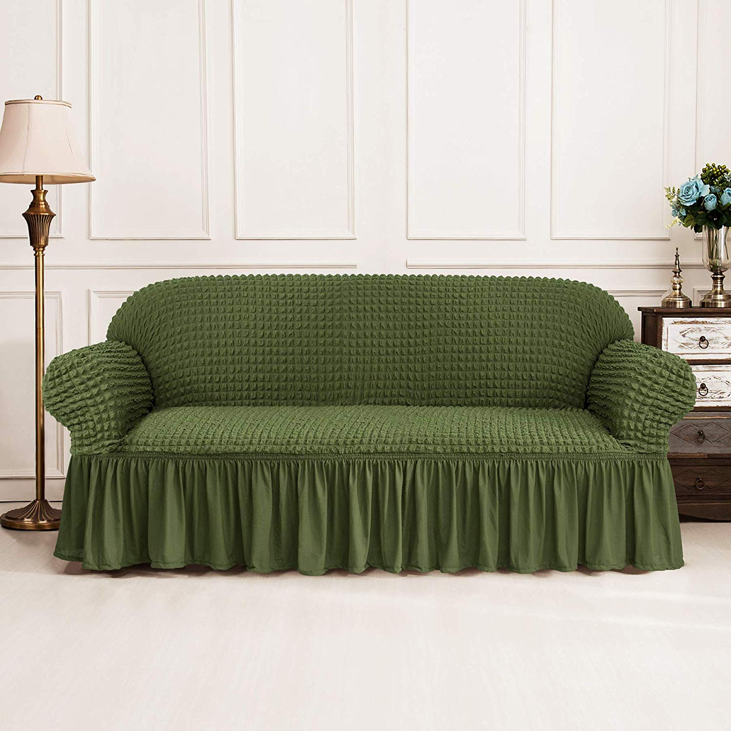 Elastic Sofa Cover with 3D Plaid and Elegant Skirt Slipcover for Universal Sofa of Home Hotel and Office 18
