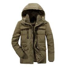 Puimentiua New Men Winter Jacket  Thick Warm Parka Fleece Fur Hooded Military Coat Pockets Windbreaker