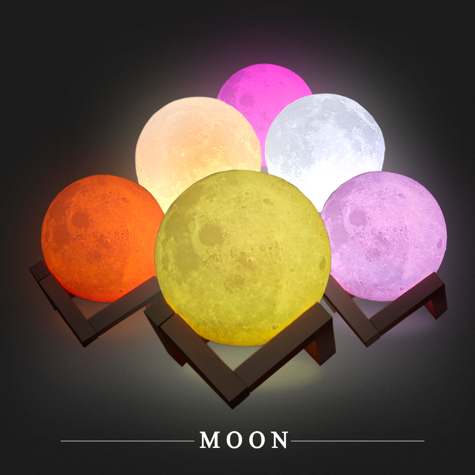 3D Printing 16 Colors RGB Led Moon Light With Stand Remote & Touch Control USB Rechargeble Moon Lamp Night Light For Kids Gift