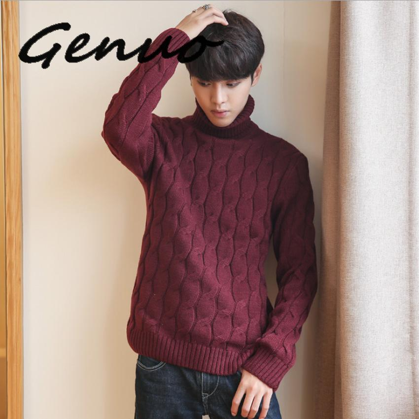 5XL Plus Size Sweater Men Turtleneck Thick Warm Mens Sweaters Wool Pullover High Turtle Neck Casual Male Sweter Pull Homme Black