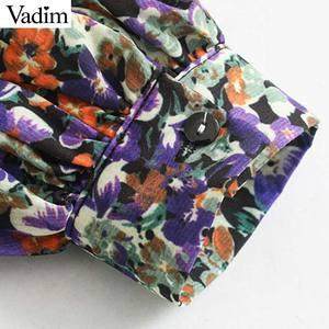 Image 5 - Vadim elegante para mujer floral patrón mini vestido O cuello linterna manga elástica cintura femenina casual retro vestidos QD162