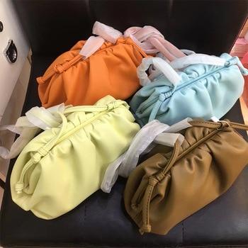 Shoulder Bags Women 2020 New Korean Version Genuine Leather Fold Clip Bag High Quality Dumplings Tote Bolsas Feminina Multicolor