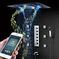Music LED Shower head 800*600mm Spray Waterfall Rainfall Shower Bathroom Thermostatic Shower Faucets Unit Speaker Showers