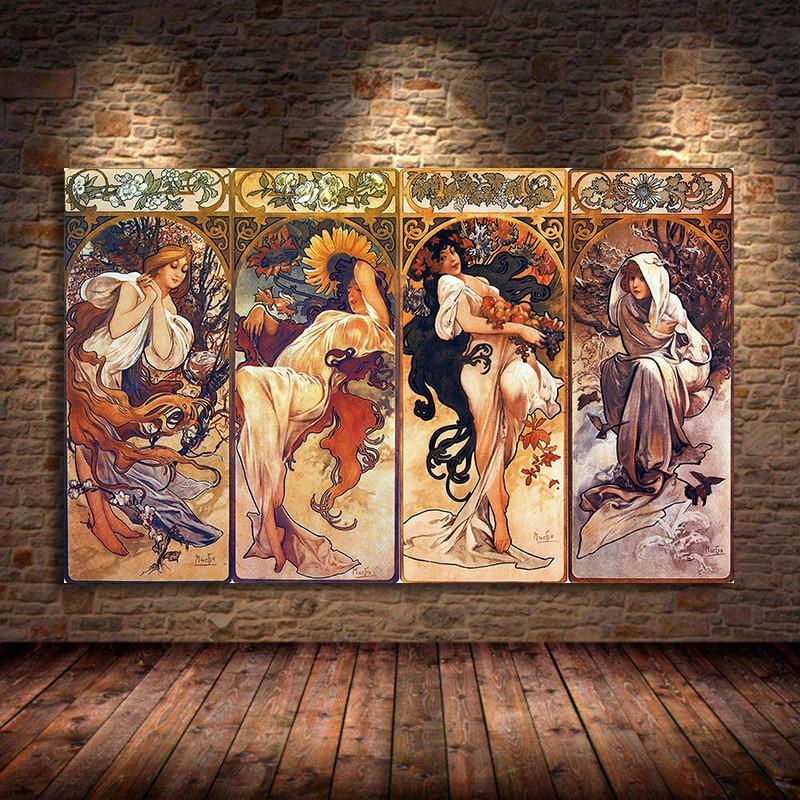 Alphonse Mucha temps de la journée Vintage affiches et impressions Art Nouveau femme toile peintures mur Art photos pour salon