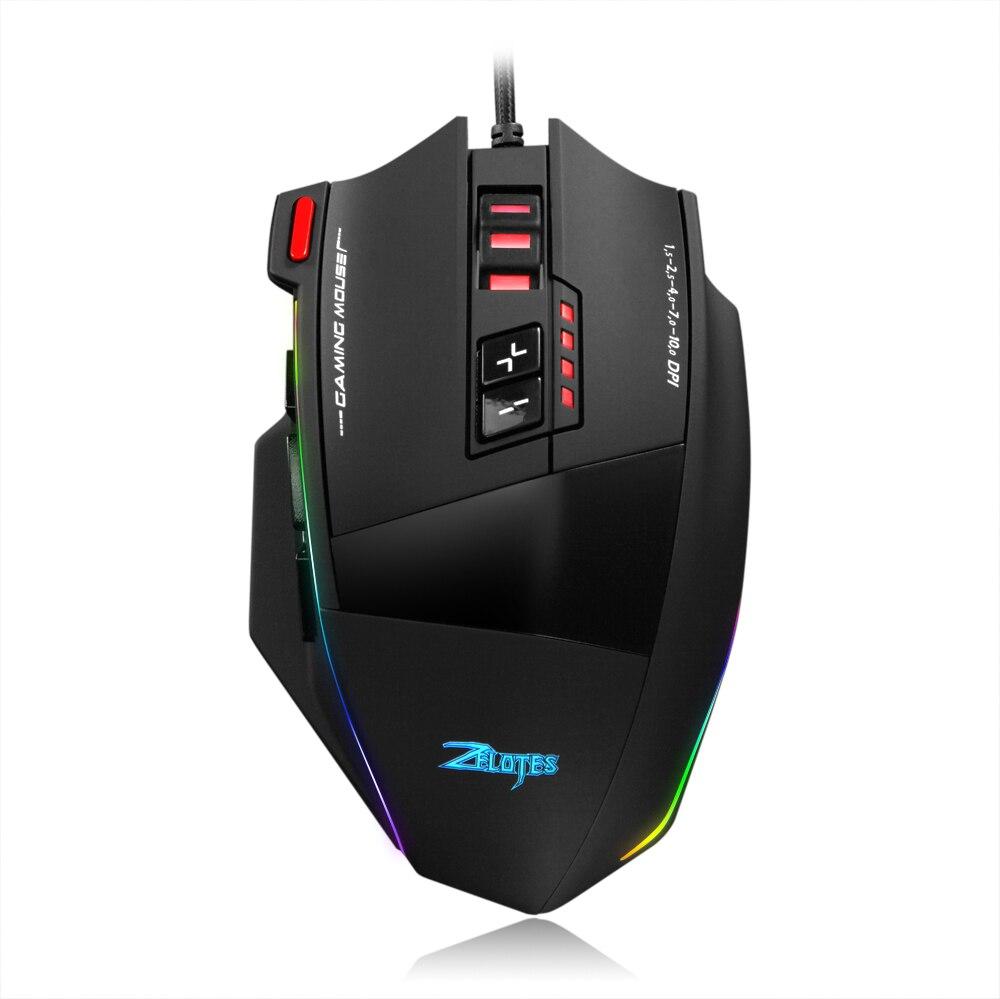 Проводная игровая мышь Zelotes, 13 программируемых кнопок, 10000DPI