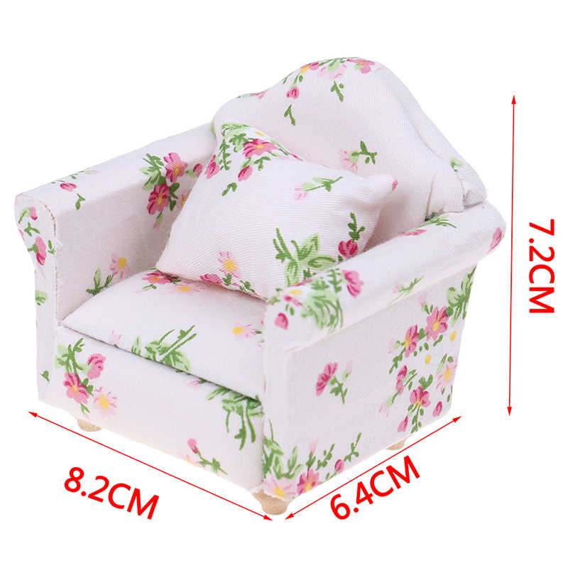 מיניאטורי בובות 1:12 קטן פרח סגנון סלון בובות ריהוט ספה ספה עם עם כרית