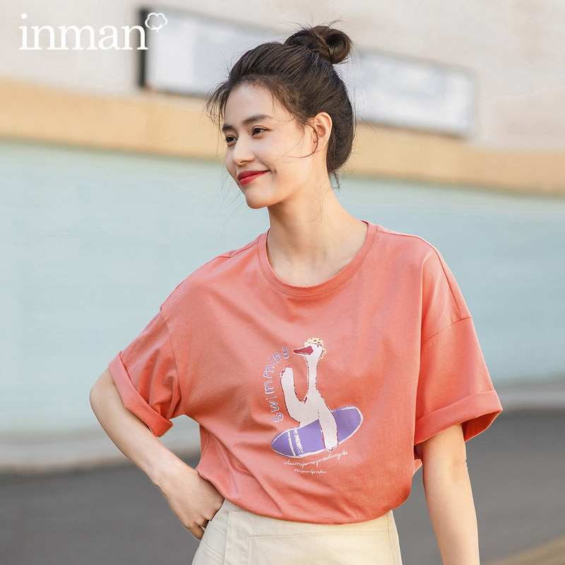 INMAN 2020 Summer New Arrival Literary Funny Cartoon Printed Loose Pure Cotton Base Short Sleeve T-shirt